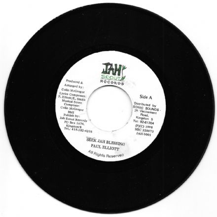 SALE ITEM - Paul Elliott - Seek Jah Blessing / Smoke Dub Version (Jah Scout) 7